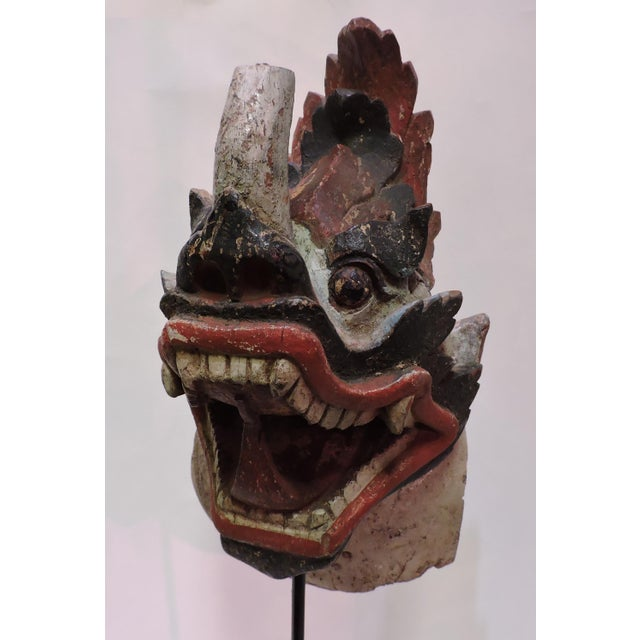 Antique Burmese dragon head. Not a mask but a large totem carved from a single piece of wood.