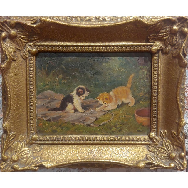 """Playful Kittens - German Oil painting -1930s oil painting on board circa 1930s frame size 8 x 6"""" board size 5 x 4"""" Ask Me..."""