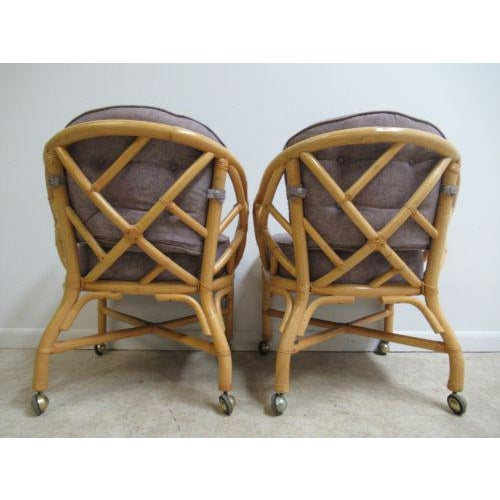 Vintage Ficks Reed Rattan Bamboo Arm Chairs -A Pair For Sale - Image 10 of 11