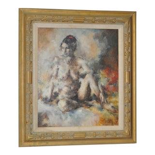 Vintage Figural Nude Oil Painting c.1974