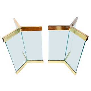 Irving Rosen for Pace Collection Glass Pedestal Table Bases - a Pair