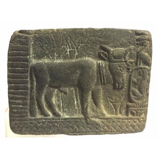 Ancient Egyptian Bull Carved Stone Relief For Sale