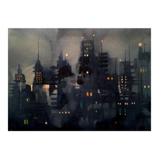 Dark Cityscape Streets Giclee Print For Sale