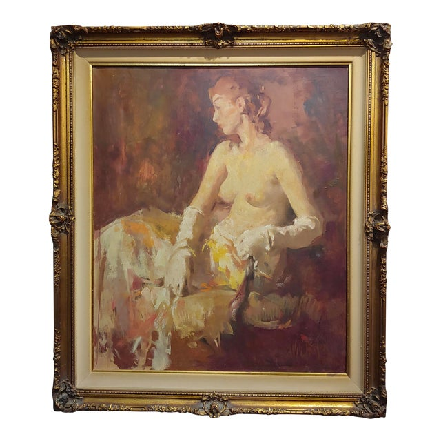 William Frederick Foster -Seated Nude Woman W/White Gloves- Oil Painting- C1930s For Sale