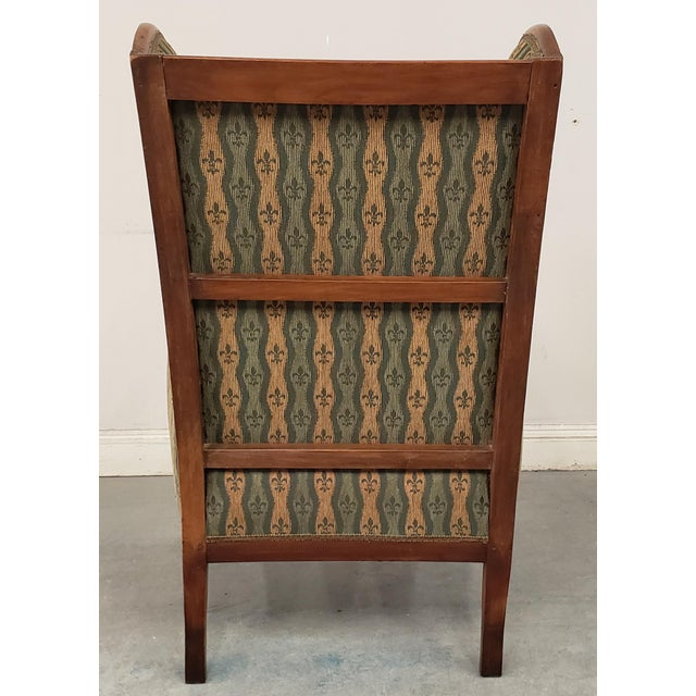 Early 20th Century French Country Provincial Upholstered Maple Wood Wingback Armchair For Sale In New Orleans - Image 6 of 9
