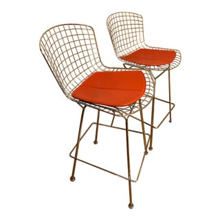 Knoll Bertoia Chrome Bar Stools - A Pair For Sale