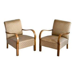 Pair of Danish Early Midcentury or Art Deco Low Lounge Chairs in Oak For Sale