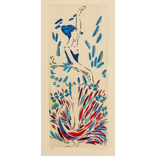 Modern Dancer With Peacock Color Etching For Sale