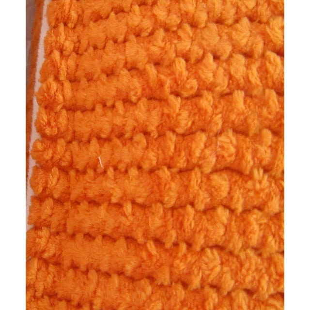 Custom made new lumbar pillows in a rich orange chenille fabric with white piped edges. As will all of our pillows, they...