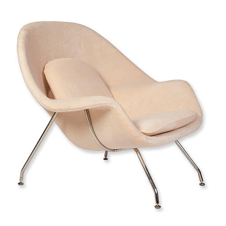 Eero Saarinen For Knoll Womb Chair With Ottoman Upholstered In Pink Terry  Cloth.