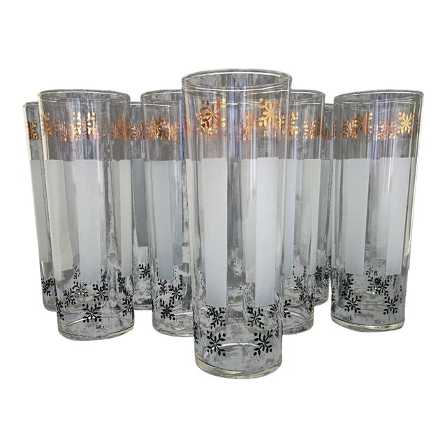 1950s Federal Style Gold Detailed Highball Glasses - Set of 10 For Sale