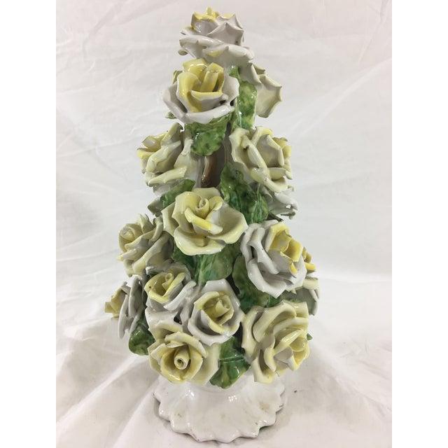 Capodimonte Handmade Capodimonte Style Italian Yellow Rose Topiary For Sale - Image 4 of 7