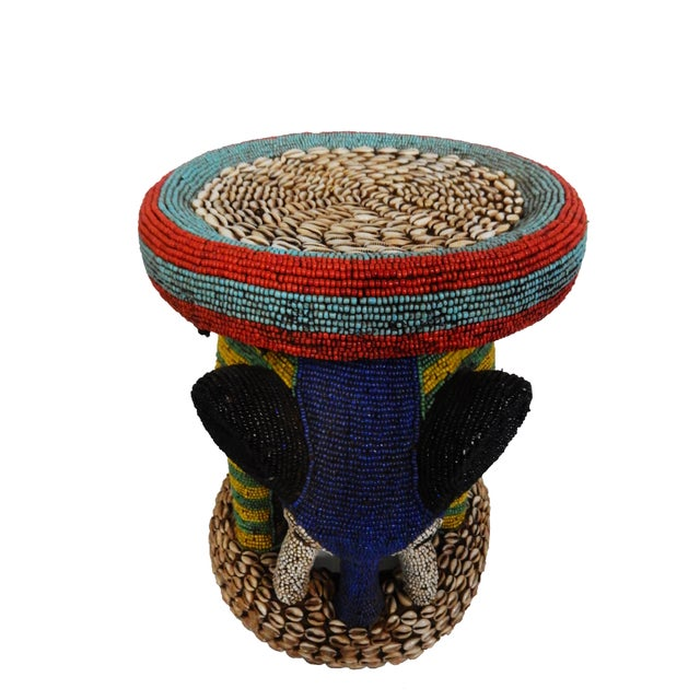 African Beaded Bamileke Elephant Stool - Image 4 of 10