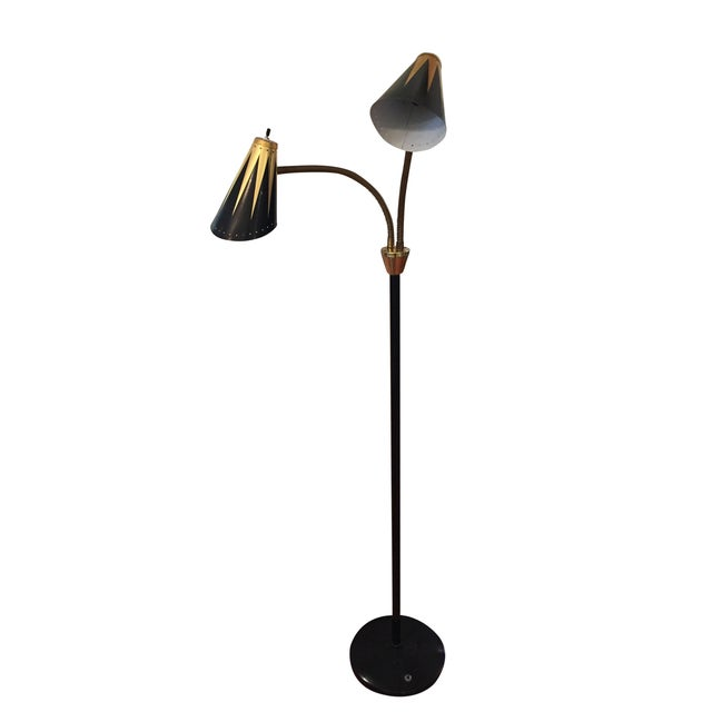 Black and Gold Retro Floor Lamp - Image 1 of 7