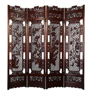 20th Century Chinese Rosewood Open Carved Screen/Room Divider For Sale
