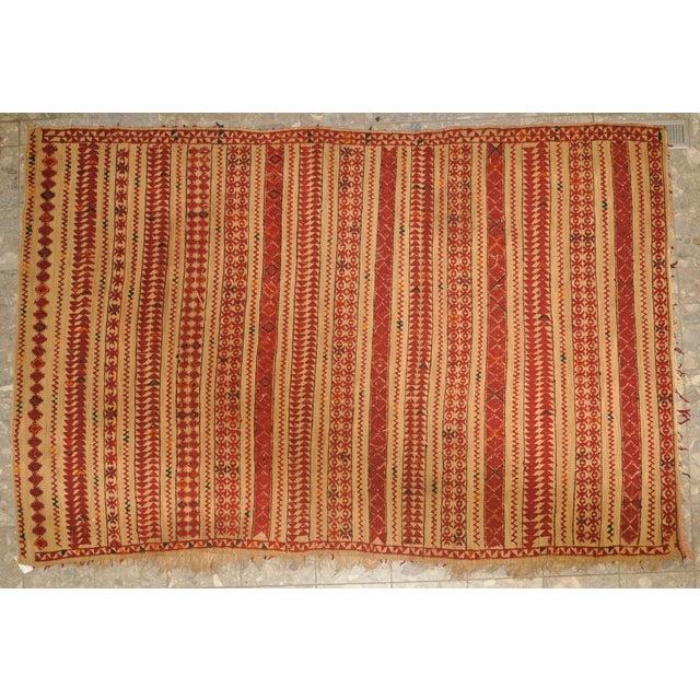 "Vintage Moroccan Wool Straw Rug - 6'6"" x 8'10"" - Image 2 of 4"