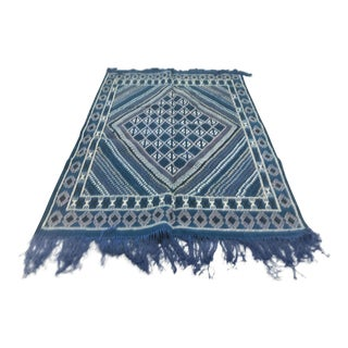 Tunisian Berber Geometric Design Wool Flatweave Carpet - 5′ × 7′ For Sale