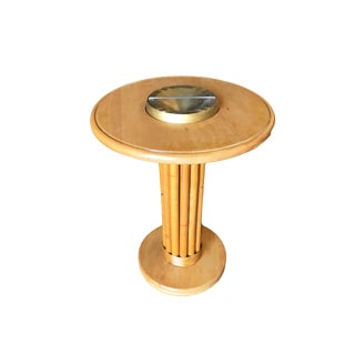 Heywood Wakefield Solid Wood Rattan Ashtray Stand For Sale