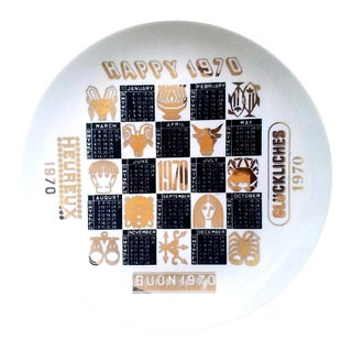 Piero Fornasetti Porcelain Calendar Plate for the Year 1970. For Sale