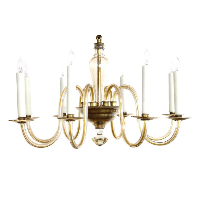 Shapely Murano 1950s Pale Gold Glass Eight-Light Chandelier - Image 1 of 5