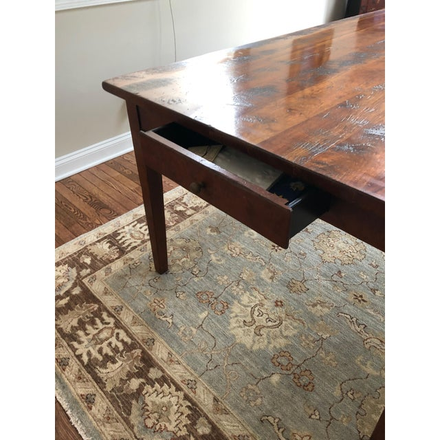 American Wright Table Company Classic Distressed Hard Wood Farm Table For Sale - Image 3 of 13