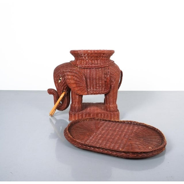 1950s Midcentury Wicker Elephant Side Table or Flower Pot Stand For Sale - Image 5 of 9