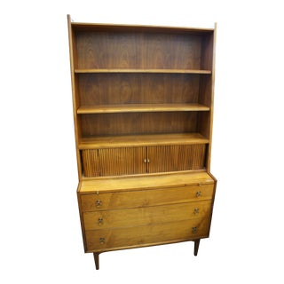 1950s Drexel Brand Mid-Century Modern Walnut Secretary Hutch For Sale