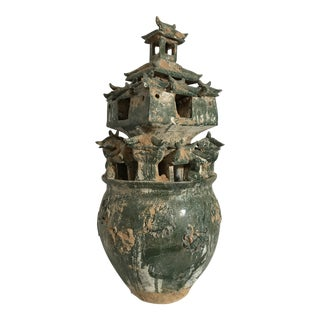 Chinese Han Style Tall Lead Glazed Moulded Pottery Urn For Sale
