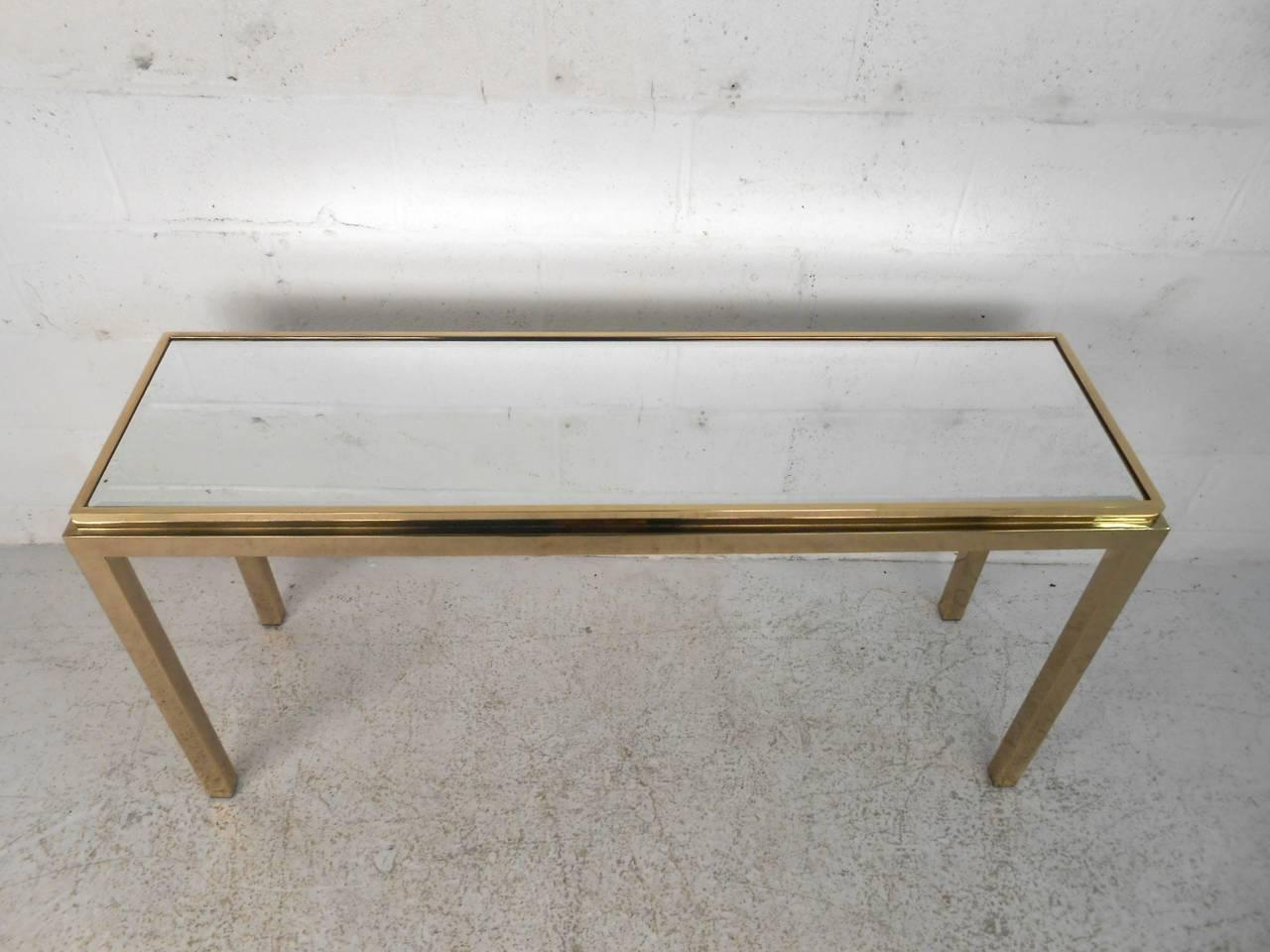 brass console table. Vintage Brass Console Table With Beveled Mirror Top - Image 4 Of 11
