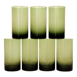 Olive Green Modernist Glasses, Set of 7 For Sale