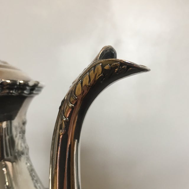 Art Deco 1930s Traditional Wilcox Hand Chased Silver Plated Coffee Pot For Sale - Image 3 of 13