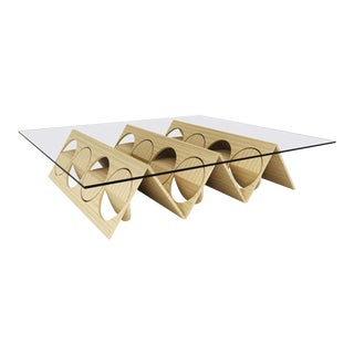 Modern Modular Wood and Glass Coffee Table For Sale