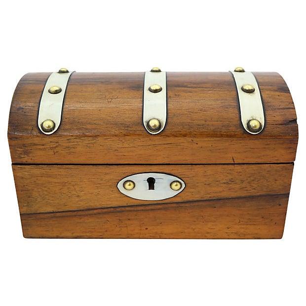 White Antique English Tea Box For Sale - Image 8 of 8