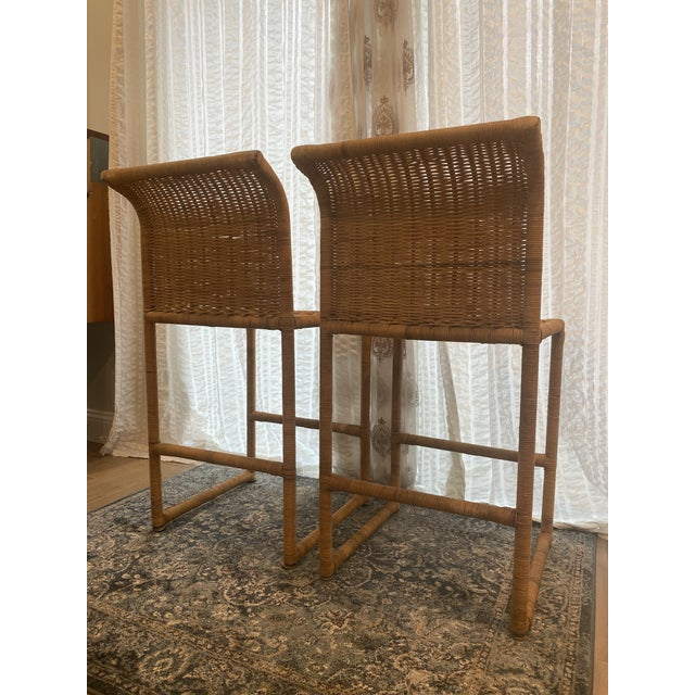 Mid Century Modern Costal Boho Chic Wicker Bar Stools - a Pair For Sale In West Palm - Image 6 of 13