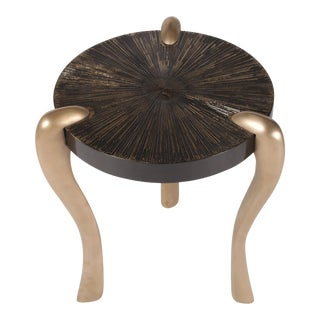 Amorph Iva Gold Finish and Gold Leaf Side Table on Black Lacquered Top For Sale