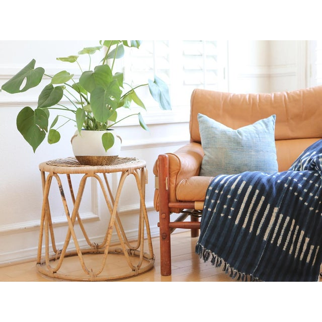 Vintage Boho Chic Bamboo & Wicker Side Table - Image 4 of 4