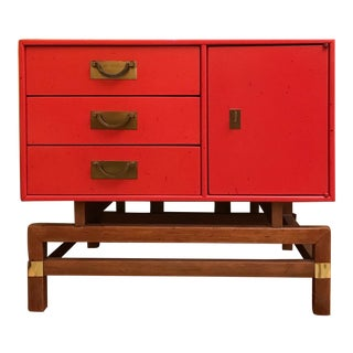 Red Lacquer Chinese Accent Chest