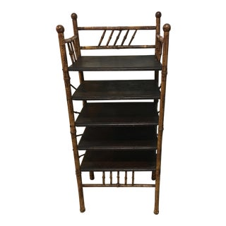 20th Century Victorian Bamboo Book Shelf Etagere For Sale