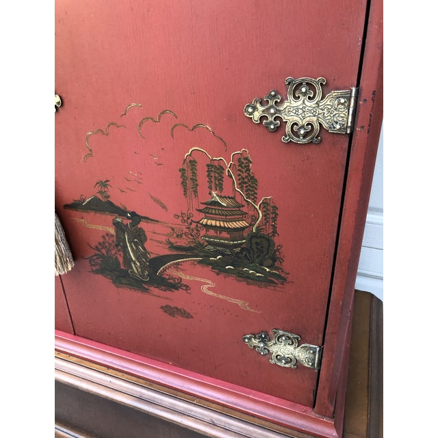 Chinese Red Cabinet or Dry Bar For Sale - Image 4 of 13