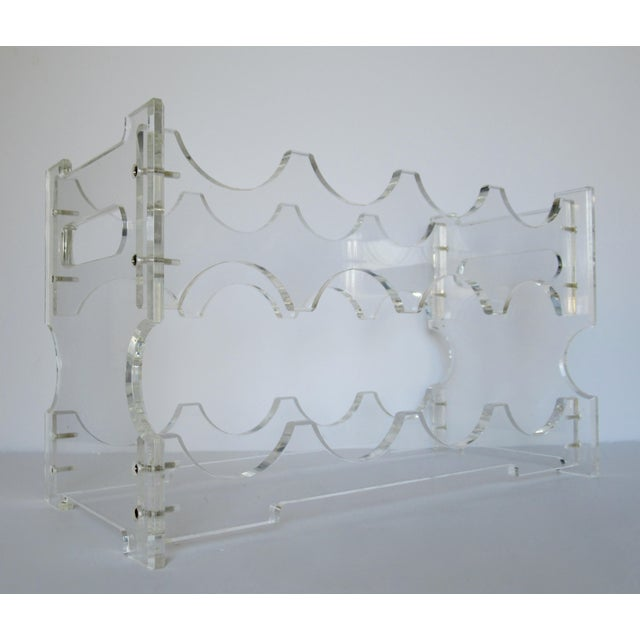 Contemporary Vintage Lucite Wine Bottle Rack For Sale - Image 3 of 11