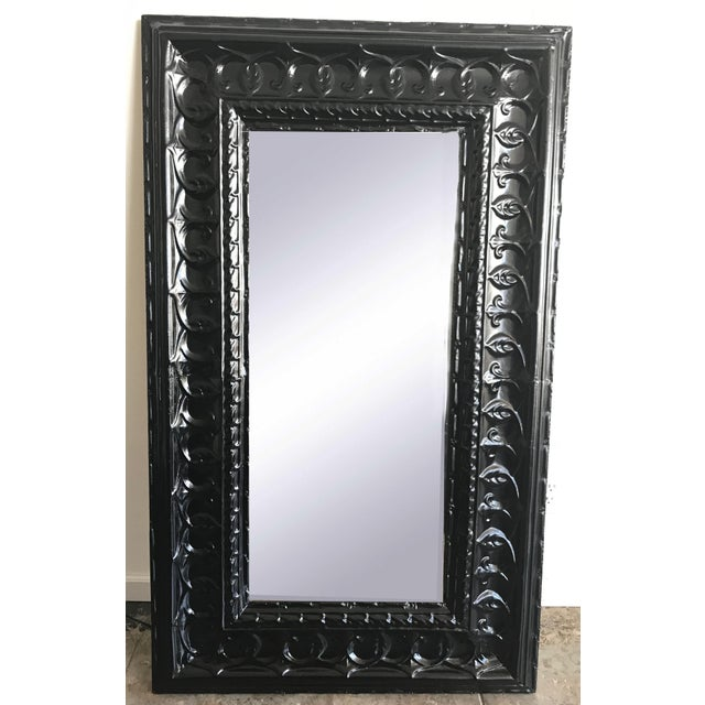 19th Century Antique Tin Ceiling Tile Ebony Floor Mirror For Sale In Los Angeles - Image 6 of 6