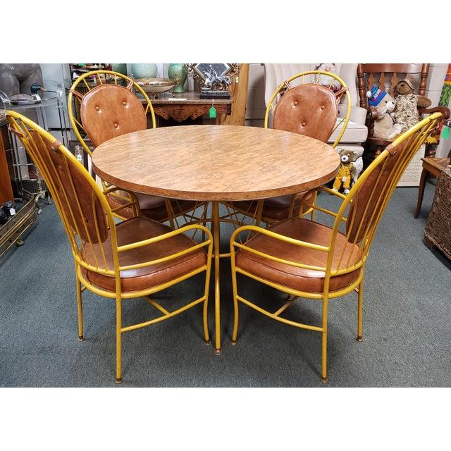 Mid Century Faux Burlwood Yellow Enamel Painted Metal Dinette Set - 5 Pieces For Sale - Image 11 of 11