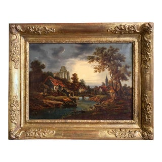 18th Century French Oil on Canvas Village Painting in Carved Gilt Frame For Sale