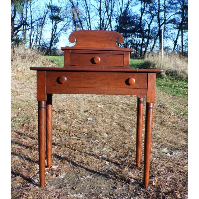Antique 1840's Sheraton 2 Drawer Stand Desk Vanity Entry Table New England For Sale - Image 13 of 13