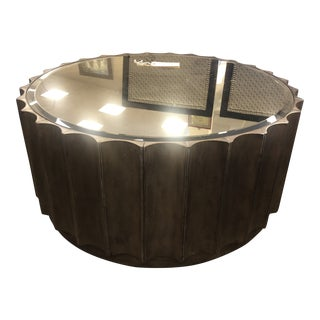Contemporary Round Mirror Top Coffee Table with Ridged Sides For Sale