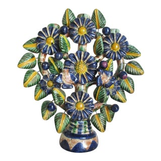Mexican Folk Art Blue & Yellow Terra Cotta Tree of Life Candelabra Candle Holder