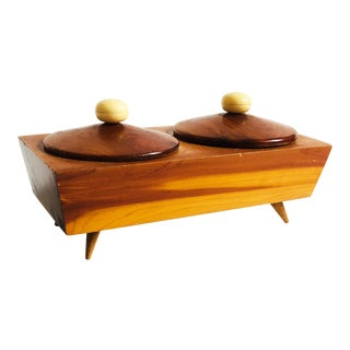 Mid Century Wood Lidded Container For Sale