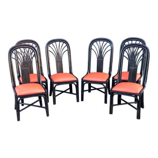 Vintage Ficks Reed Bamboo Rattan With Cane Dining Chairs - Set of 6 For Sale