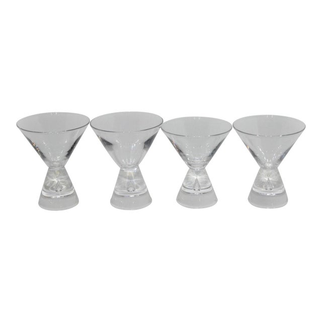 Mid-Century Modern Steuben Martini Glasses Hand-Blown Tear-Shaped Bubble Signed - a Set of 4 For Sale - Image 11 of 11