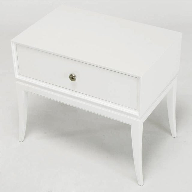 Tommi Parzinger White Lacquered Nightstand For Sale In Chicago - Image 6 of 10